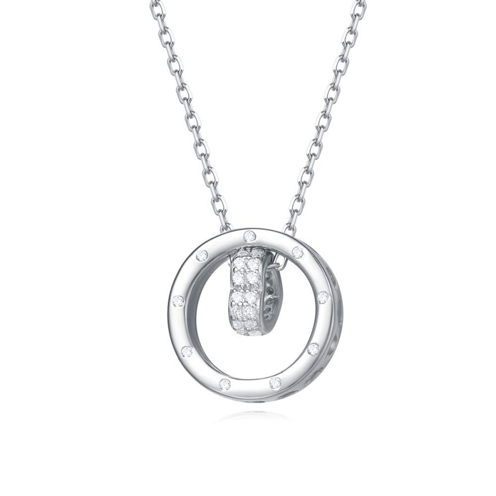 925 Sterling Silver 5A Cubic Zirconia CZ Open Eternity Circle Pave Round Disc Pendant Necklace Dainty Jewelry
