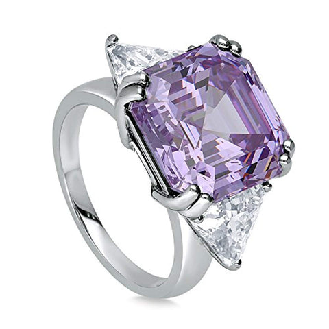 Rhodium Plated Sterling Silver Purple Asscher Cut Cubic Zirconia CZ Statement 3-Stone Cocktail Anniversary Fashion Right Hand Ring