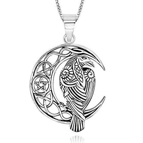 Celtic Crescent Moon Raven Pendant Necklace