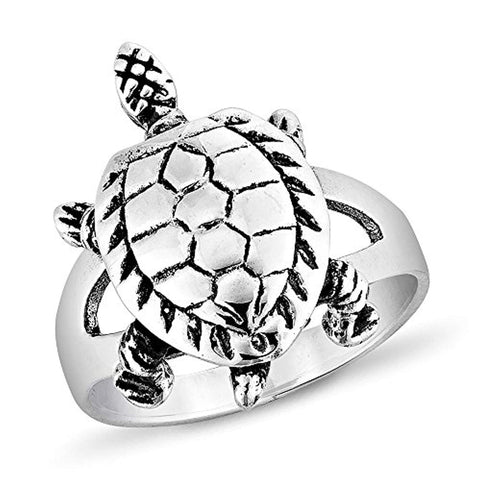 925 Sterling Silver Vintage 3-D Sea Turtle Band Ring Unisex Jewelry