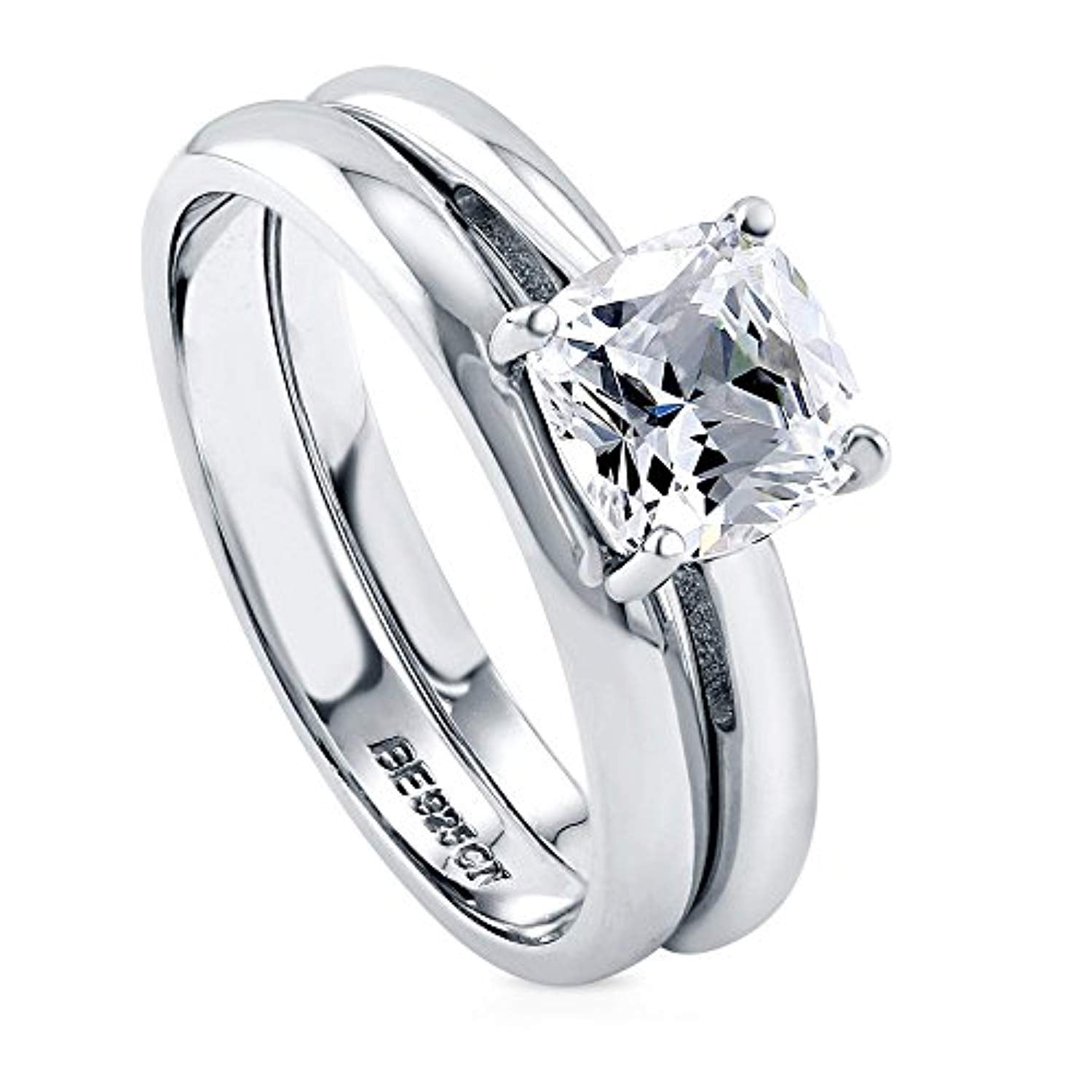 Rhodium Plated Sterling Silver Cushion Cut Cubic Zirconia CZ Solitaire Engagement Wedding Ring Set