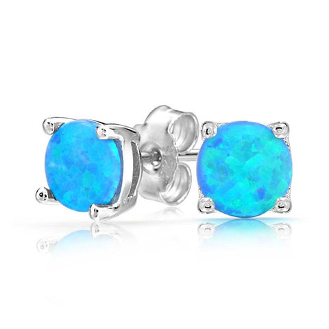 Created Opal Round Solitaire Stud Earrings For Women Basket Set 925 Sterling Silver October Birthstone