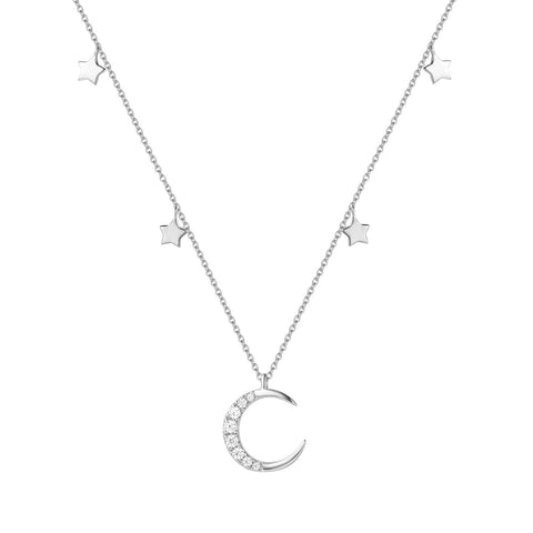 14K White Gold Plated S925 Sterling Silver Moon Stars Choker Necklace Cubic Zirconia CZ Jewelry