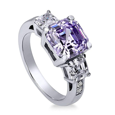 Rhodium Plated Sterling Silver Purple Asscher Cut Cubic Zirconia CZ Statement 3-Stone Anniversary Engagement Ring