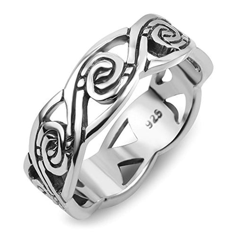 925 Sterling Silver Tribal Swirl Surf Wave Design Band Ring