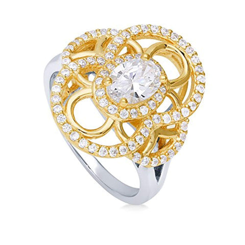 Rhodium and Gold Plated Sterling Silver Cubic Zirconia CZ Statement Art Deco Cocktail Fashion Right Hand Ring