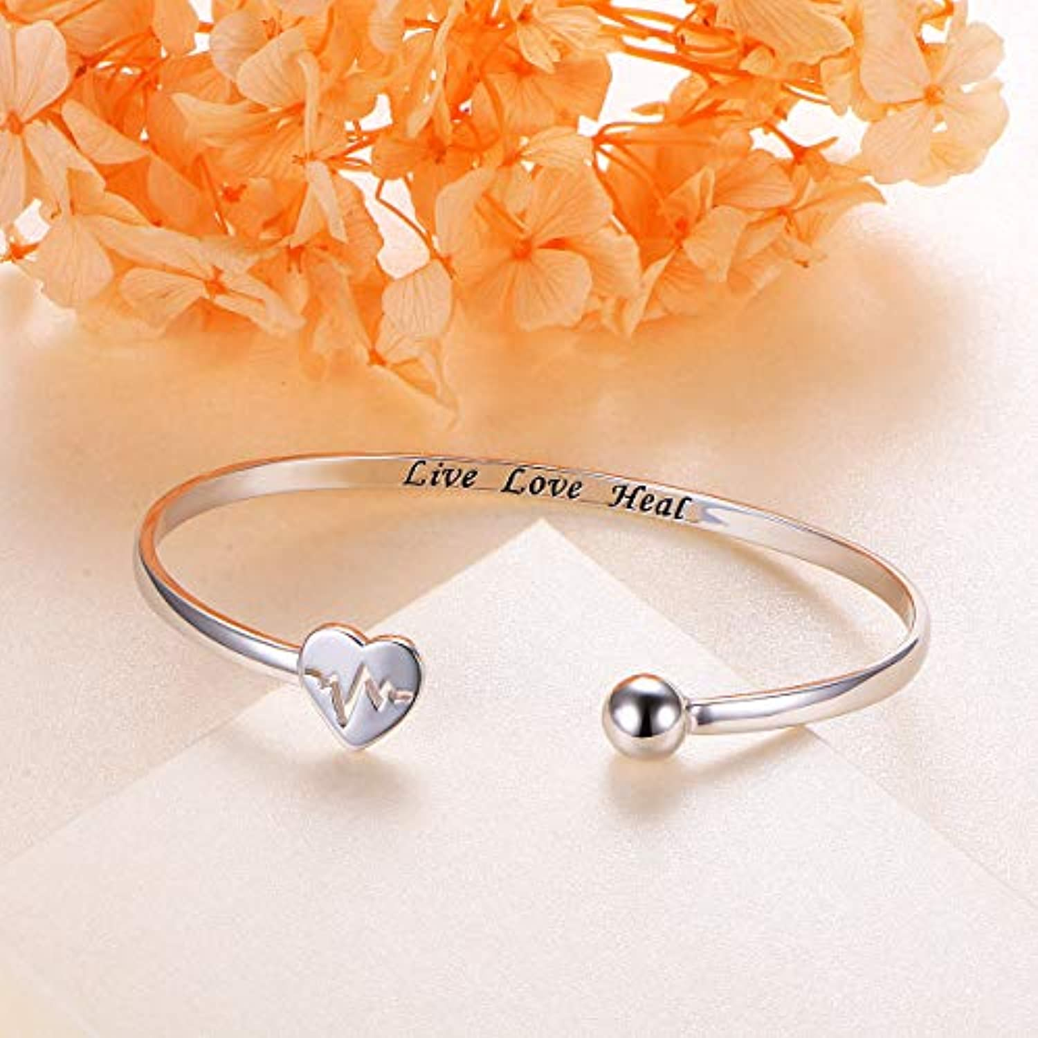 925 Sterling Silver Adjustable Open Cuff Heart Bangle Bracelet for Women Girls Inspirational Gift