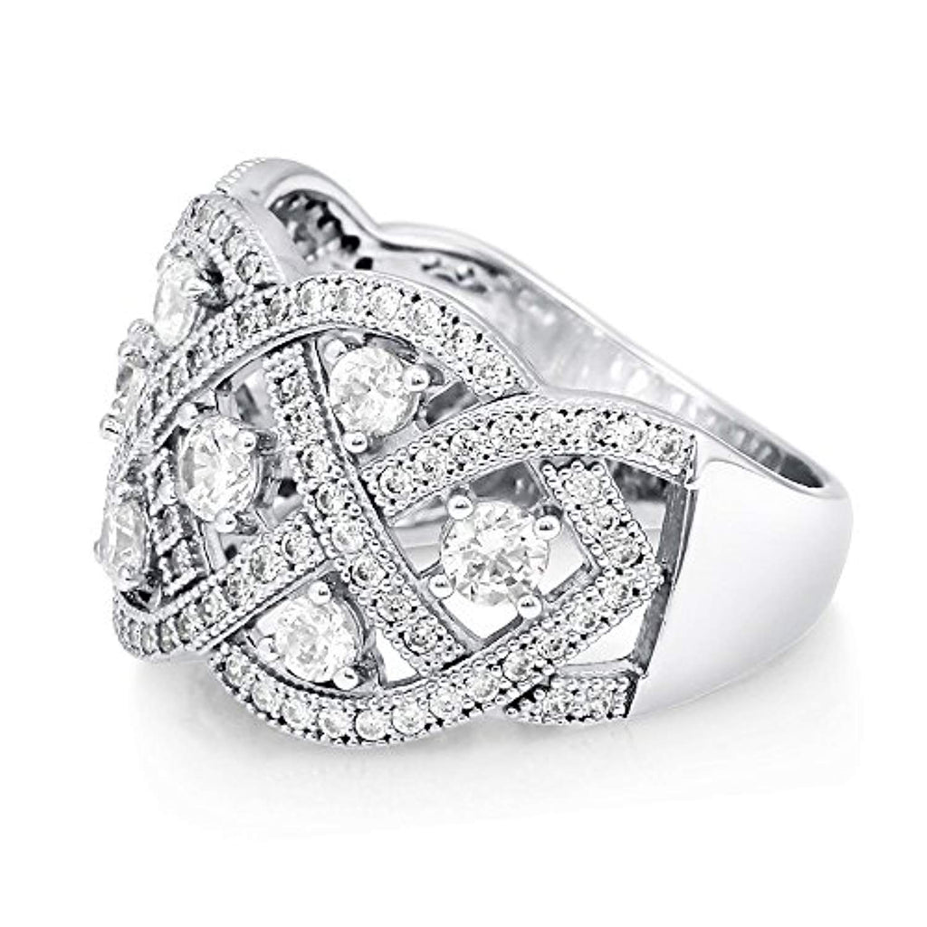 Rhodium Plated Sterling Silver Cubic Zirconia CZ Statement Woven Art Deco Cocktail Fashion Right Hand Ring