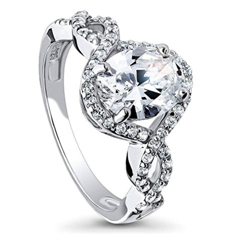 Rhodium Plated Sterling Silver Oval Cut Cubic Zirconia CZ Solitaire Woven Engagement Ring