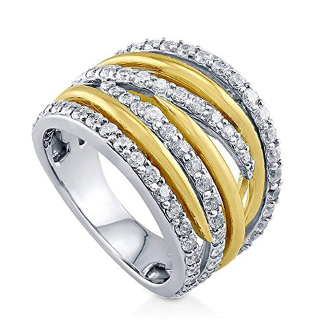 Rhodium and Gold Plated Sterling Silver Cubic Zirconia CZ Statement Woven Cocktail Fashion Right Hand Ring