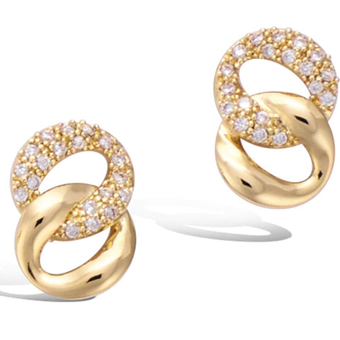 Yellow Gold plated  Infinity Oval Circle Knot Cubic Zirconia CZ Stud Earrings