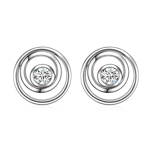Geometric Earrings Round Circle Small Cubic Zirconia Silver Women Earrings