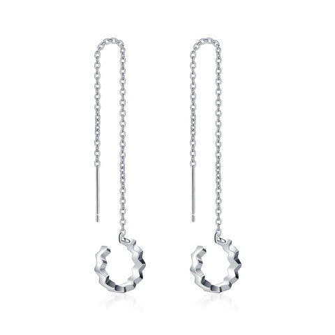 Long Chain Circle Round Pendant Earrings Ear Clip For Beautiful Girl