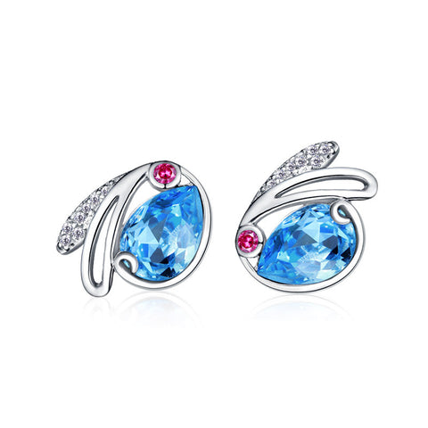 S925 sterling silver earrings Austrian crystal ear bunny Stud earrings jewelry