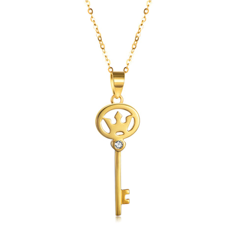 18K Gold Fashion Creative Personality Key Necklace Temperament Jewelry