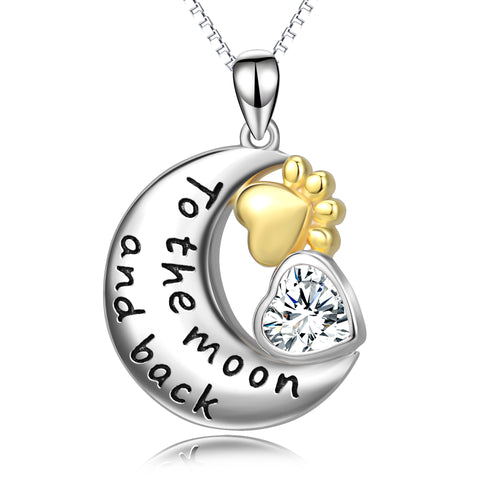 Gold Moon and Puppy Paw Shape Necklace Message Silver Necklace
