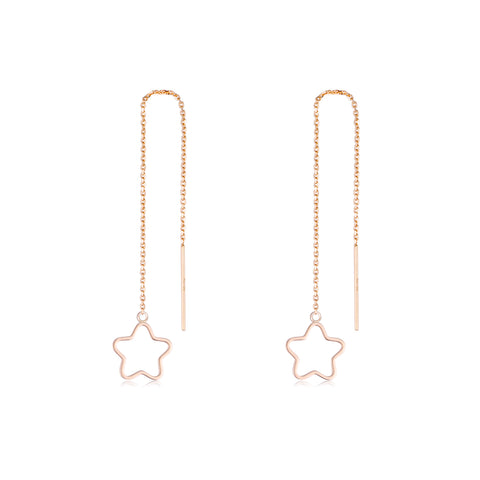 18K Gold Fashion Hot Sale Long Chain Star Dangle Drop Earrings Ladies Jewelry Rose Gold Plated