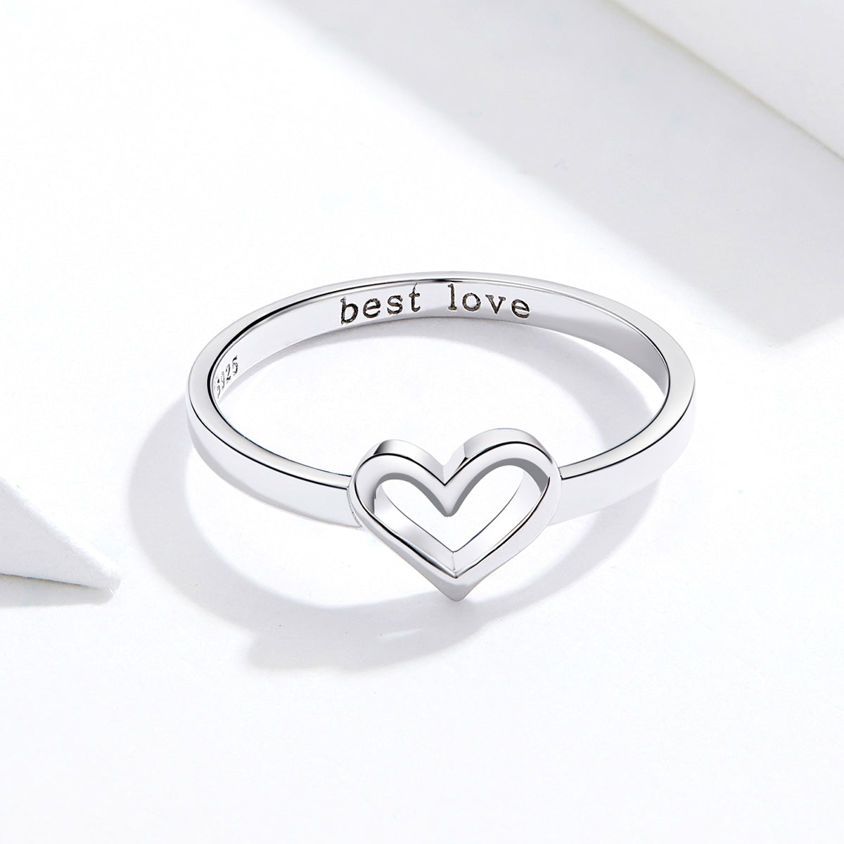 S925 sterling silver love shape ring white gold plated ring