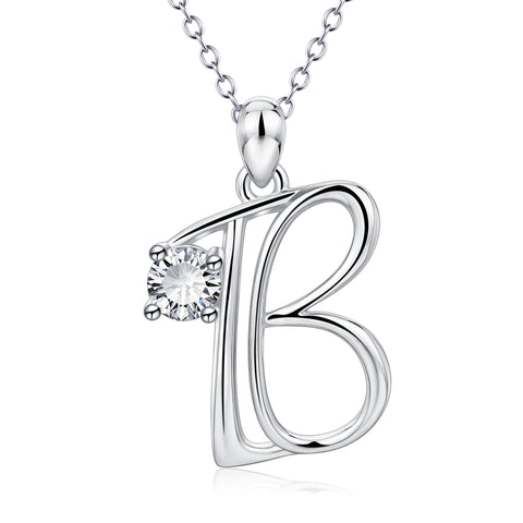 Simply design letter jewelry silver alphabet pendant necklace