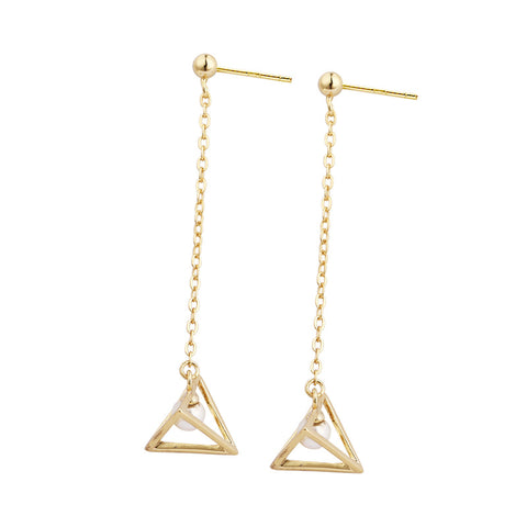 European And American Fashion Jewelry Fashion Simple Ear Line Stereo Triangle Bead