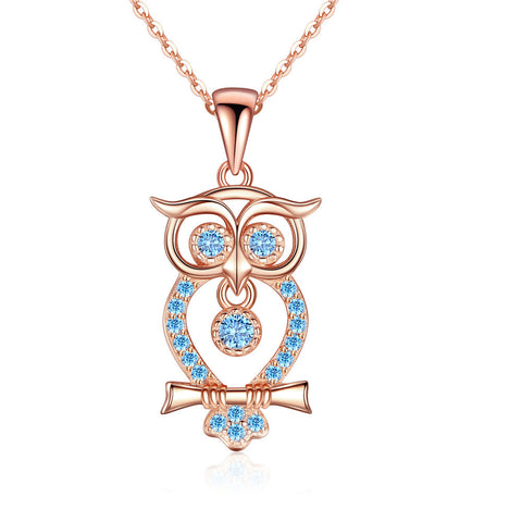 Rose Gold plated Owl blue birthstone zircon Pendant Necklace S925 Sterling Silver jewerly