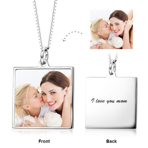 SILVER COLOR PHOTO MESSAGE NECKLACE