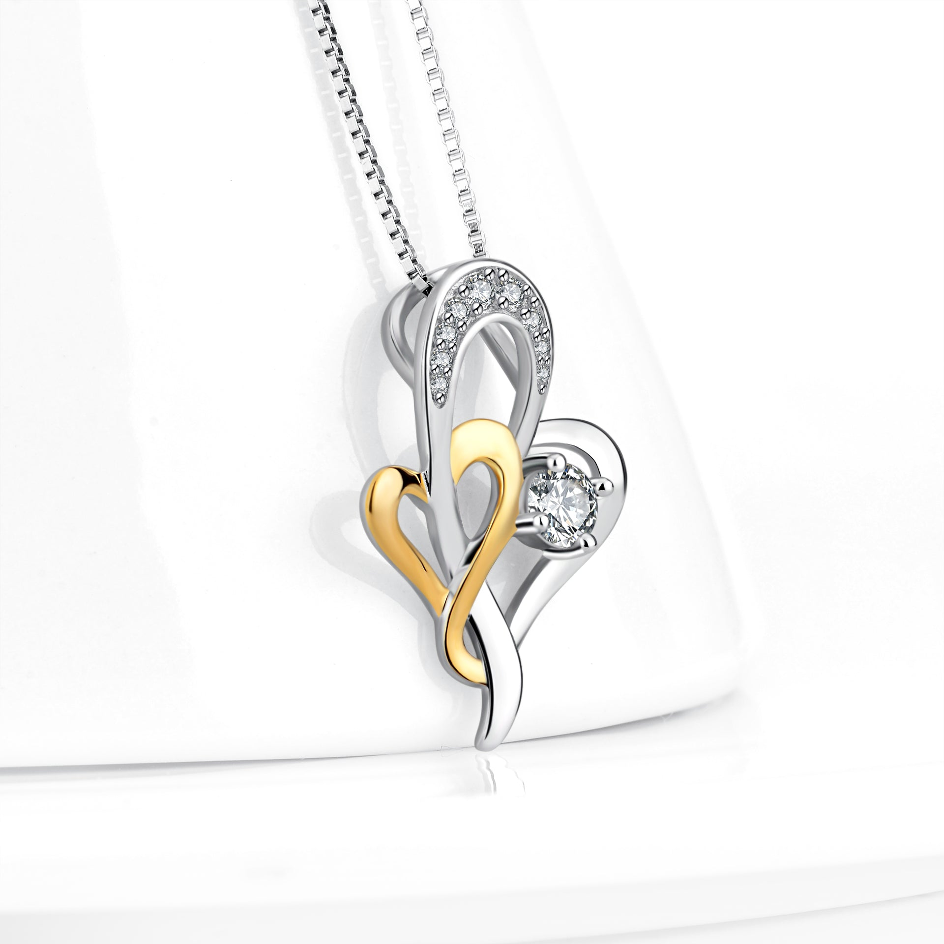 Heart Silver Pendant Necklace Eternal Lifetime Loving Heart Necklace Valentines Gift for wholesale