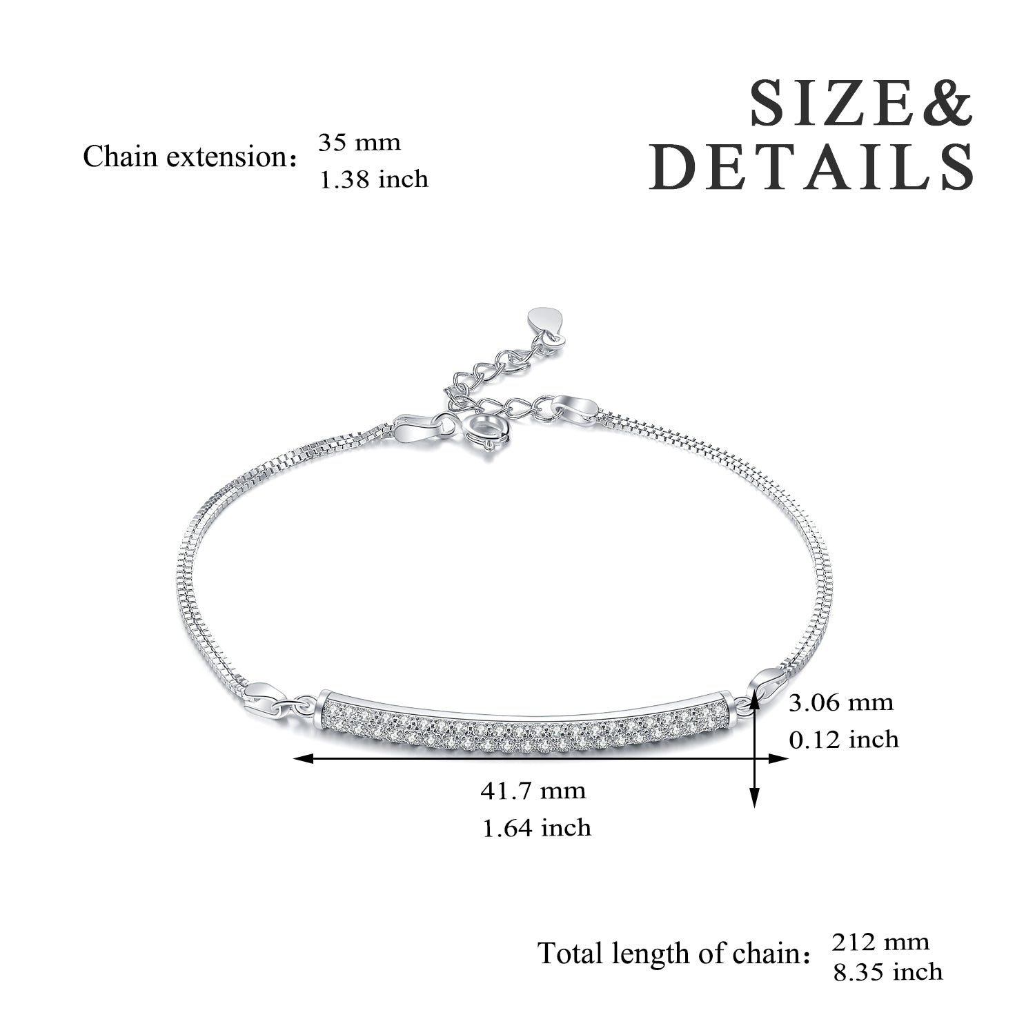 Box Chain Double Layer Bracelet Cubic Zirconia Bar Beautiful Bracelet