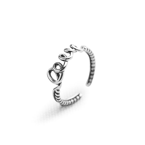 925 Sterling Silver Ring Letter Love Opening Ring Korean Version Of The Retro Silver Ring Female Jewelry Wholesale