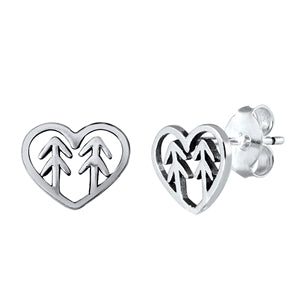 Silver  Trees in Heart Stud Earrings