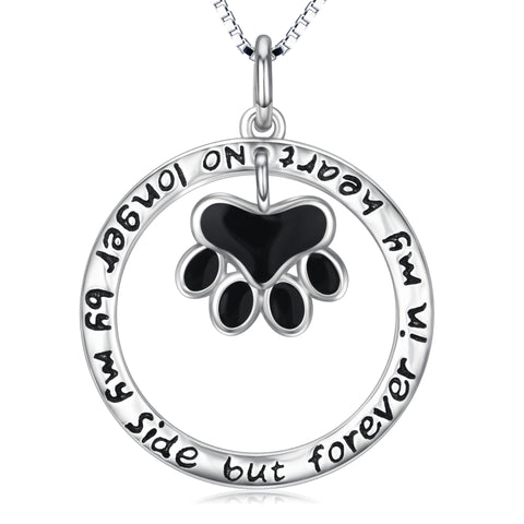 No longer by my side but forever in my heart necklace animal paw necklace