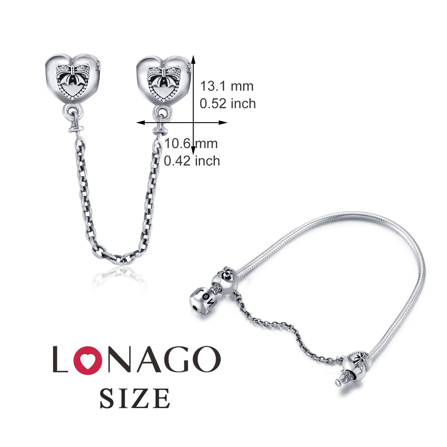 Bowknot Safety Chain Charms Beads For Bracelet Design 925 Sterling Silver
