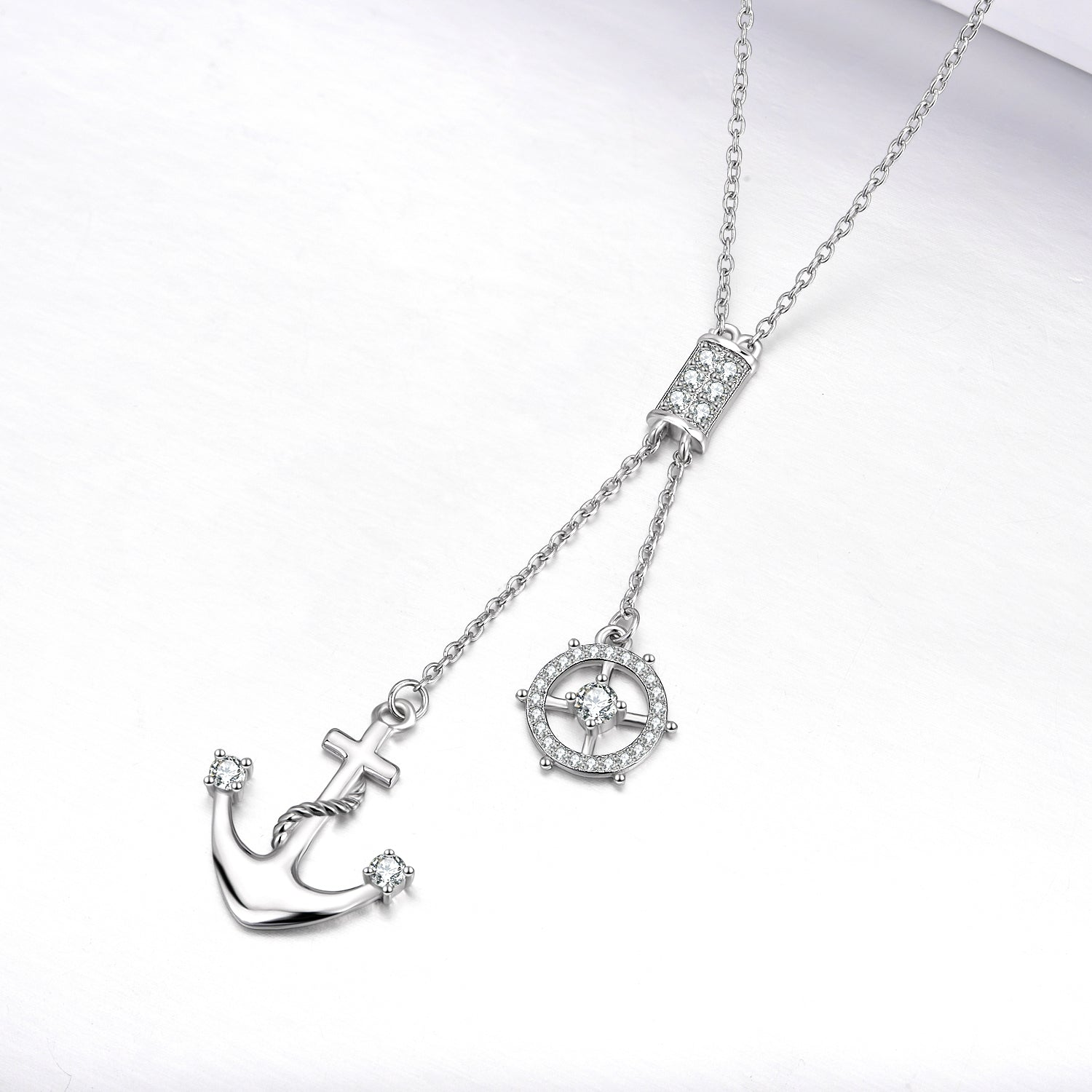 Silver Anchor Cross Pendant Necklace for Man Birthday Gift Jewelry