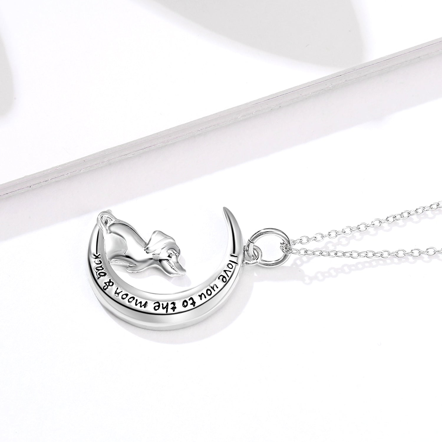 I Love You To The Moon And Back Necklace Wholesale Silver Jewelry