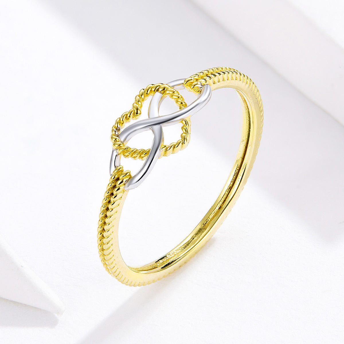 S925 sterling silver has always loved the ring infinity heart-shaped ring platinum and yellow gold ring