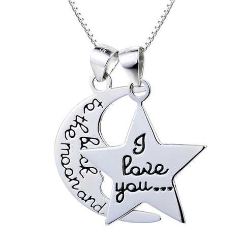 Couple Moon And Five Pointed Star Necklace Words Engraved Necklace