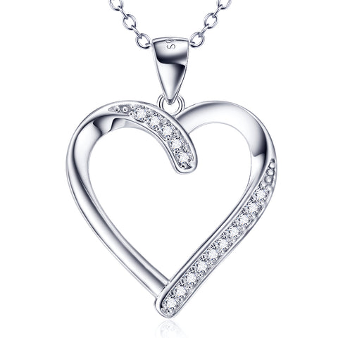 Fashion Heart Shaped Necklace 925 Sterling Silver Cubic Zirconia Jewelry Birthday Gift For Girlfriend