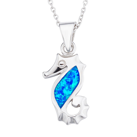 Hippocampus necklace opal animal handmade necklace