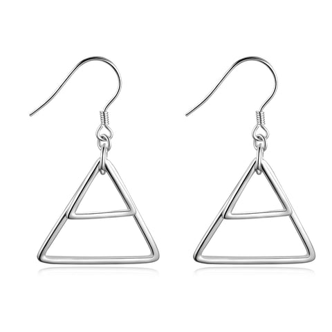 Rhodium Plating Silver Wire Triangle Geometric Earrings Designs