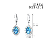 Gemstone Blue Color Earrings Small Cubic Zirconia Silver Earrings