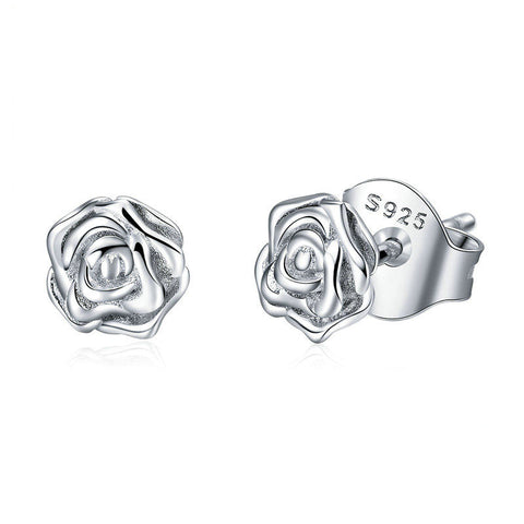 Romantic Rose Flower Stud Earrings