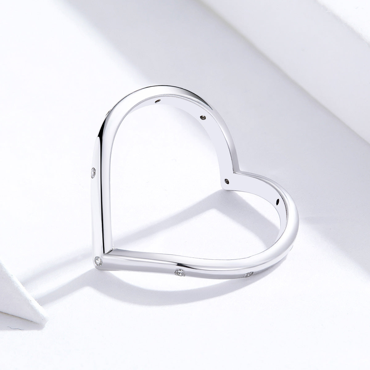 S925 sterling silver heart ring white gold plated zircon ring