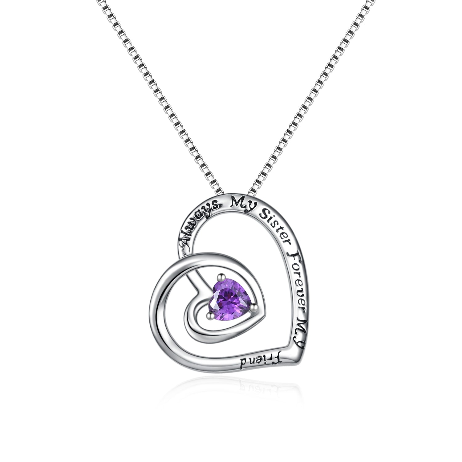 Always My Sister Forever My Friends Engraved Necklace Heart Purple Zirconia Necklace