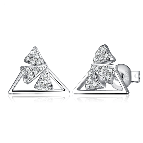 Triangle Flowers Cubic Zirconia Stud Earrings