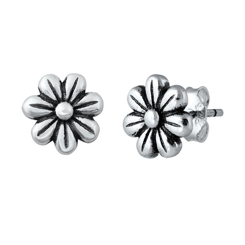 Silver  Flowers Stud Earrings