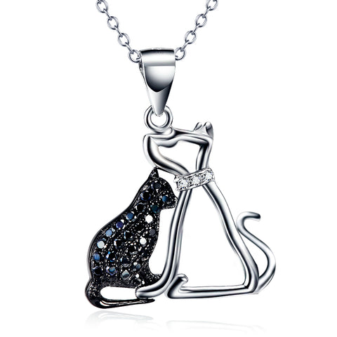 Silver sweet puppy cat charms pendant necklace animal cat shaped necklaces