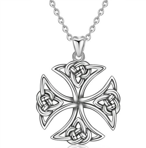Cross Celtic knot sterling silver necklace pendant  Vintage oxidized jewelry