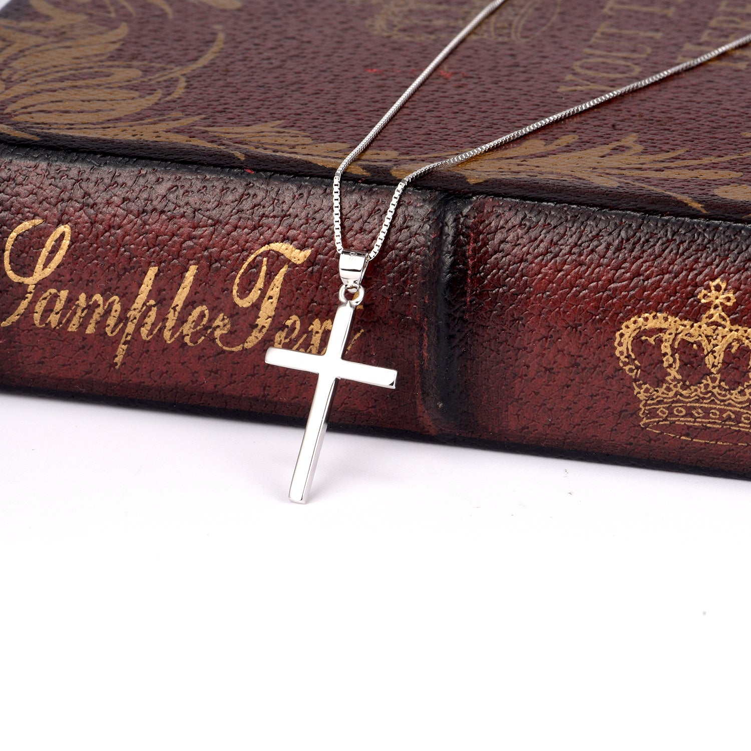 Genuine 925 Sterling Silver Cross Pendant Chain Necklace For Men Gift Jewelry