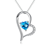 Asymmetrical Heart Shape Necklace Blue Crystal Goodness Necklace