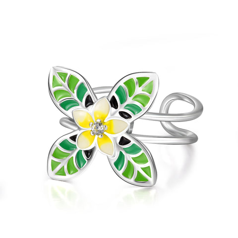 Yellow Flower with Green Leaves Rings Adjustable Opening Silver Rings